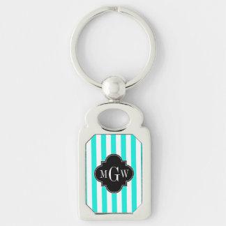 Brt Aqua Wht Stripe Black Quatrefoil 3 Monogram Silver-Colored Rectangular Metal Keychain