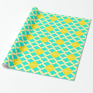 Brt Aqua Yellow Wht Quatrefoil 3 Initial Monogram Wrapping Paper