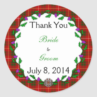Bruce Celtic Wedding Thank You Classic Round Sticker