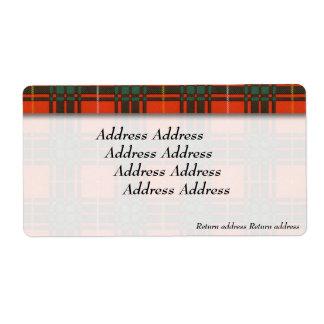 Bruce clan Plaid Scottish tartan Shipping Label