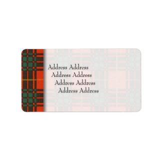Bruce clan Plaid Scottish tartan Address Label