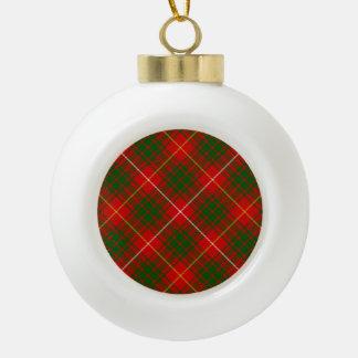Bruce clan tartan red green plaid ceramic ball christmas ornament
