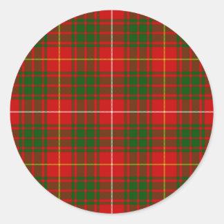 Bruce clan tartan red green plaid classic round sticker