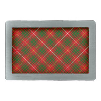 Bruce clan tartan red green plaid rectangular belt buckle