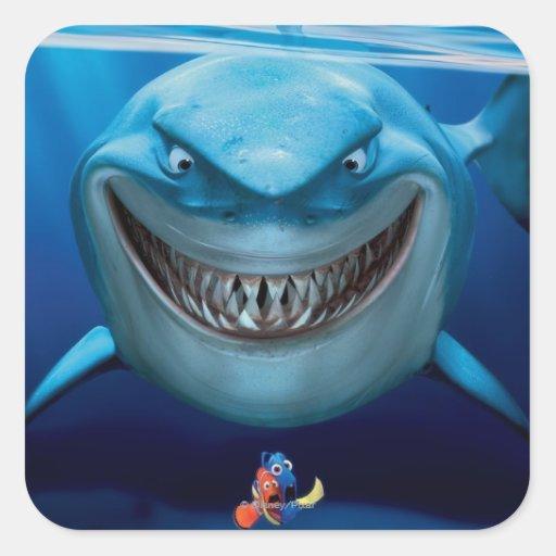 Bruce, Nemo and Dory 2 Square Sticker