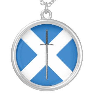 Bruce Sword Round Pendant Necklace