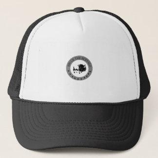 bruce the buffalo black and white logo trucker hat