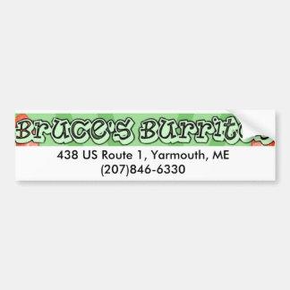 Bruce's Burritos Car Bumper Sticker
