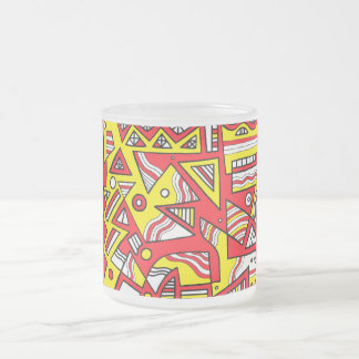 Brucken Abstract Expression Yellow Red Black 10 Oz Frosted Glass Coffee Mug