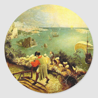 Bruegel's Landscape with the Fall of Icarus - 1558 Classic Round Sticker