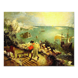 """Bruegel's Landscape with the Fall of Icarus - 1558 4.25"""" X 5.5"""" Invitation Card"""