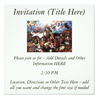 """Bruegel's """"The Fall Of The Rebel Angels"""" (1562) 5.25"""" Square Invitation Card"""