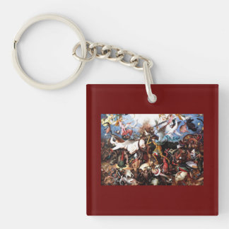 """Bruegel's """"The Fall Of The Rebel Angels"""" (1562) Double-Sided Square Acrylic Keychain"""