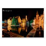 Bruges at night card tarjeta de felicitación