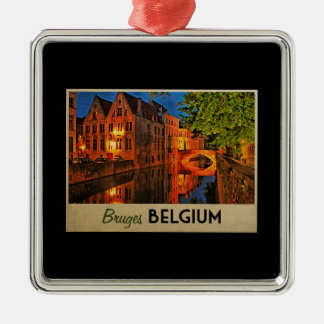 Bruges Belgium At Night Metal Ornament