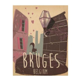 Bruges, Belgium cartoon travel poster