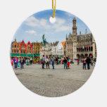 Bruges Market Place Photograph Ceramic Ornament