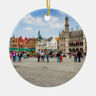 Bruges Market Place Photograph Ceramic Ornament