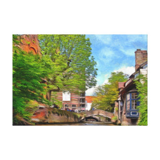Bruges. Sunny day on the canal. Canvas Print