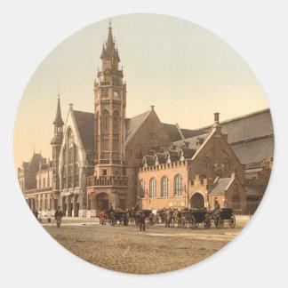 Bruges - the Station, Belgium Classic Round Sticker