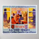 Bruges Vintage Travel Poster Restored