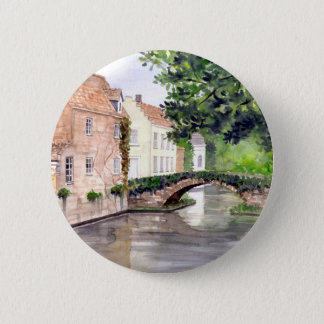 Bruges Watercolor Painting by Farida Greenfield Button