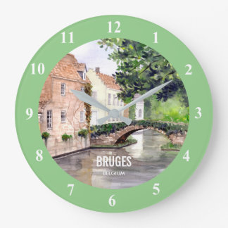 Bruges Watercolor Painting by Farida Greenfield Large Clock