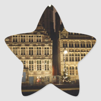 Brugge in the night star sticker