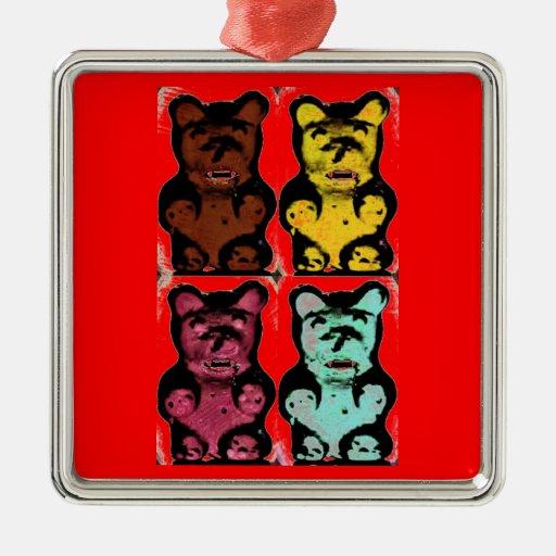 Bruins gomosos que chupan de la sangre colorida adorno navideño cuadrado de metal