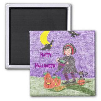 ¡Bruja 3, feliz Halloween! Imán Cuadrado
