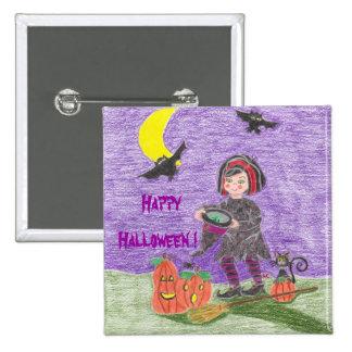 ¡Bruja 3, feliz Halloween! Pin Cuadrado