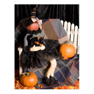 Bruja 4830 con la postal de Halloween del gatito