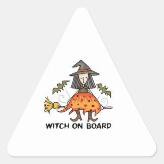 Bruja a bordo pegatina triangular