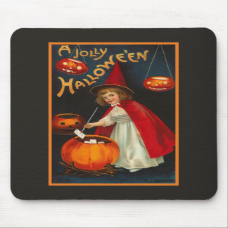 Bruja alegre Mousepad de Halloween del vintage Alfombrilla De Raton