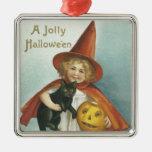 Bruja alegre pasada de moda de Halloween pequeña Ornato