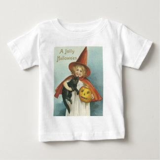 Bruja alegre pasada de moda de Halloween pequeña Playera De Bebé