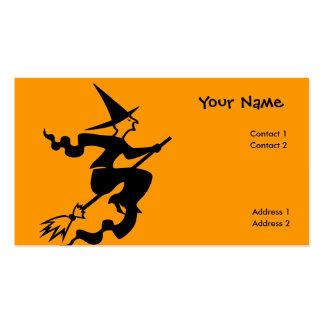 bruja asustadiza del vuelo tarjetas de visita