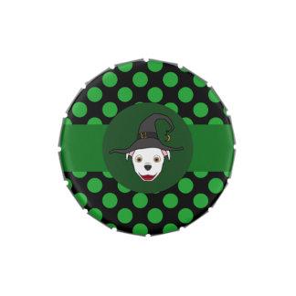 Bruja blanca de Pitbull con los puntos verdes Jarrones De Caramelos