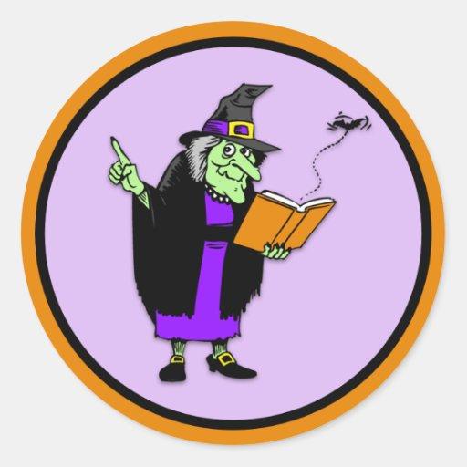 Bruja clásica de Halloween del dibujo animado Pegatina Redonda