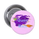 Bruja clásica de la bruja de la reina en un botón  pin