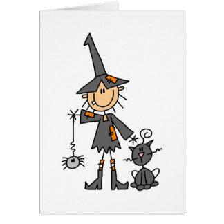 Bruja con el gato negro tarjeta de felicitación