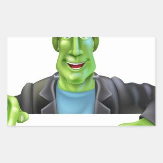 Bruja de Frankenstein que señala abajo Pegatina Rectangular