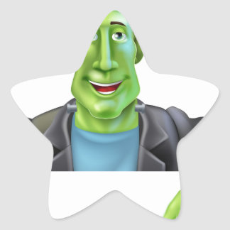 Bruja de Frankenstein que señala abajo Pegatina En Forma De Estrella