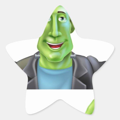 Bruja de Frankenstein que señala abajo Pegatinas Forma De Estrellaes Personalizadas