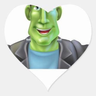 Bruja de Frankenstein que señala abajo Pegatina En Forma De Corazón