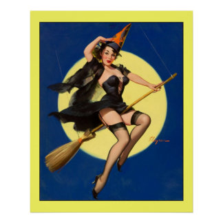 Bruja de Gil Elvgren del vintage en chica modelo d Posters