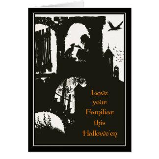 Bruja de Halloween Arturo Rackham del vintage + Tarjeta De Felicitación