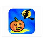 Bruja de Halloween, calabaza Tarjeta Postal