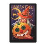 Bruja de Halloween con la calabaza divertida Lona Envuelta Para Galerias