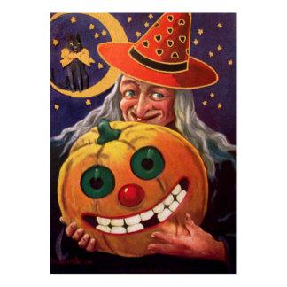 Bruja de Halloween con la calabaza divertida Tarjetas De Visita Grandes